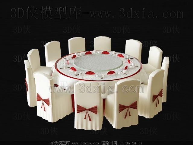 Wedding used round table and chairs 3D Model