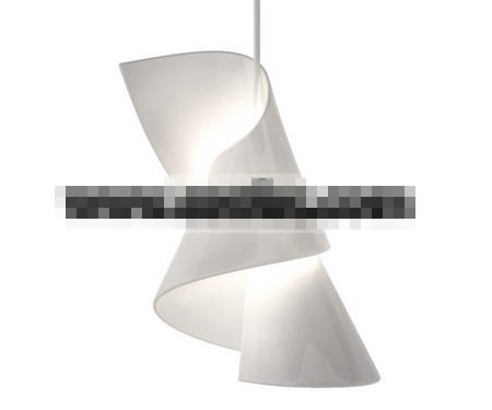 White abstract rotation pendant lamp 3D Model