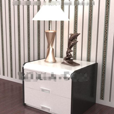 White and black bedside cabinet 3D Model
