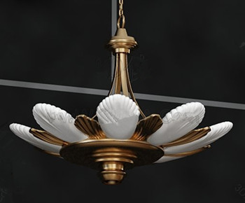 White and gold petals pendant lamp 3D Model