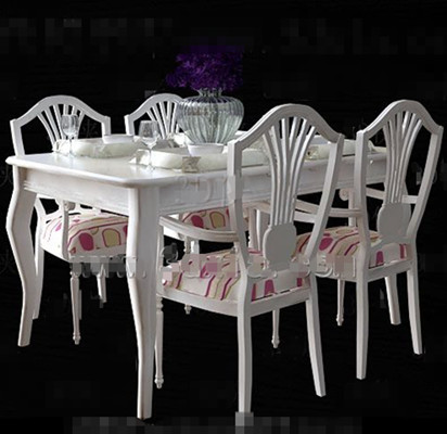 White and Pink cushions dining table 3D Model