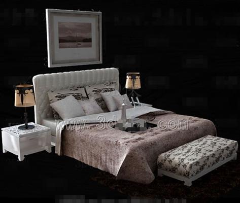 White bedside pink floral double bed 3D Model