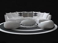 White circular sofa combination 3D Model