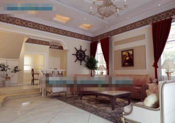 White classic European style living room 3D Model