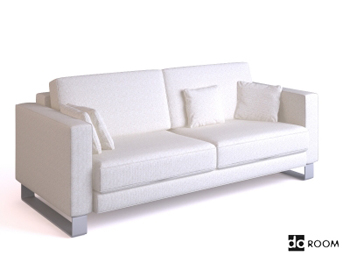 White comfortable double seats sofa 3D Model
