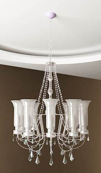 White crystal chandelier model 3D Model
