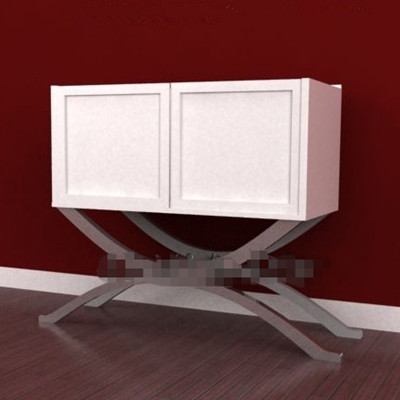 White curved legs two-door cabinet 3D Model