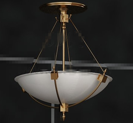 White disc metal chain pendant lamp 3D Model