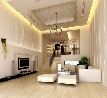 White duplex structure apartment living room 3D Model