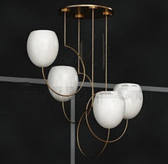 White egg-shaped chandeliers 3D Model