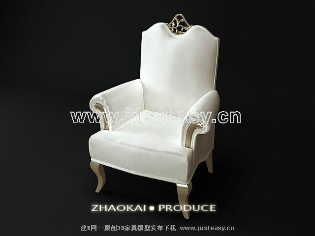 White European single sofa 3D model (including materials)