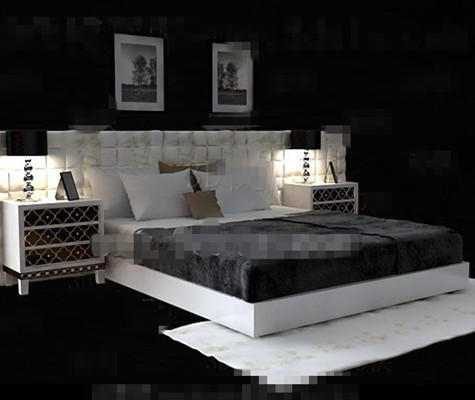 White exquisite luxury double bed 3D Model