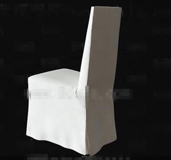 White fabric back-rest chair 3D Model