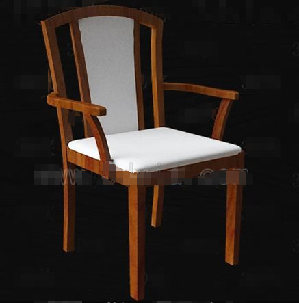White fabric cushion wooden chairs 3D Model