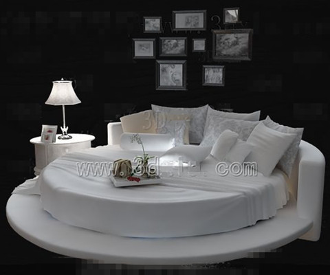 White fashion personality round double bed 3D Model