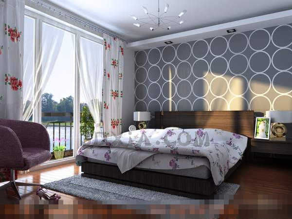 White fashion simple style bedroom 3D Model
