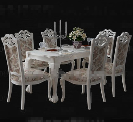 White floral pastoral style dining table 3D Model