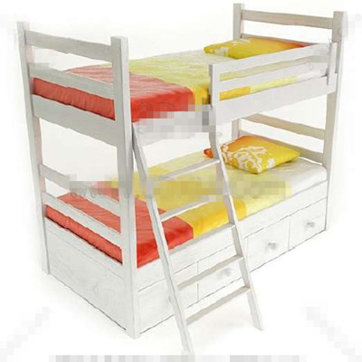 White fresh children stacked bed 3D Model