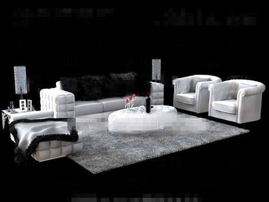 White fur sofa tea table combination 3D Model