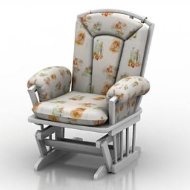 White Leisure Chair Model 3D Model