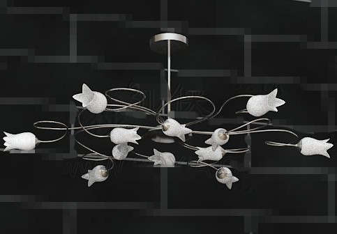 White lily crystal chandelier 3D Model