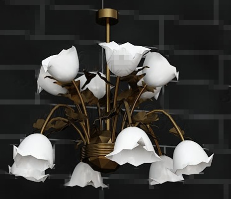 White lily potted metal Pendant 3D Model