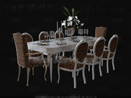 White long-shaped dining table combination 3D Model