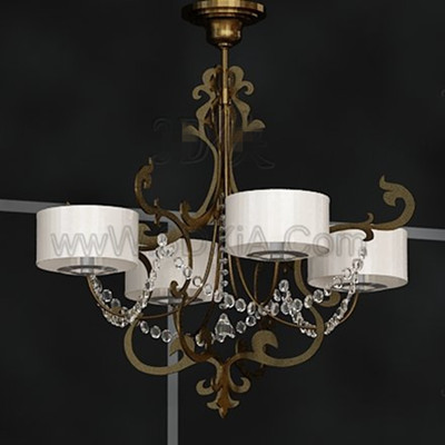 White metal frame pendant lamp 3D Model