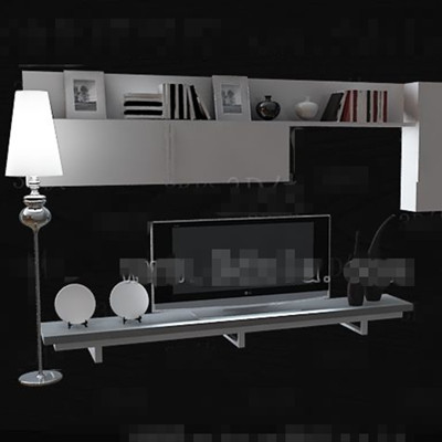 White minimalist display style TV wall 3D Model