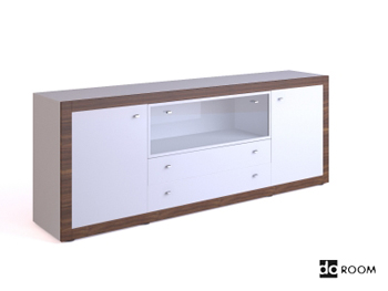 White multi-functional TV cabinet 3D Model