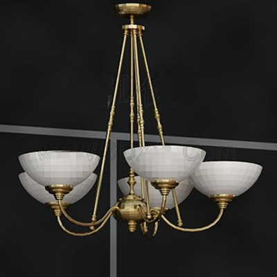 White pallets golden stents chandelier 3D Model