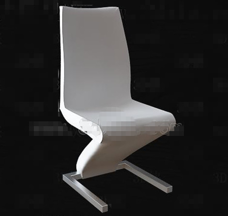 White personality bent chair 3D Model