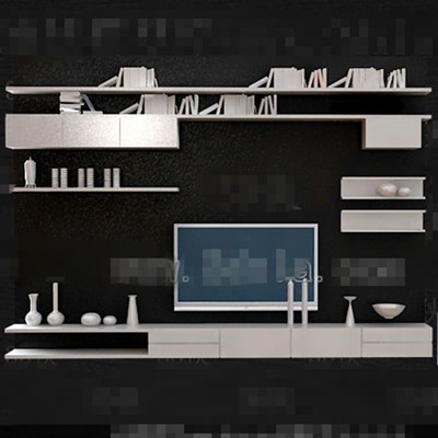 White personality bookshelf TV wall 3D Model