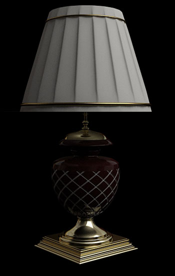 White pleated checkered table lamp 3D Model