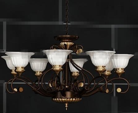 White receptacles metal pendant lamp 3D Model