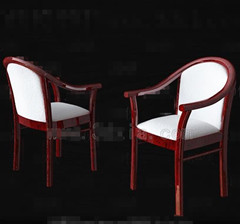 White red wooden chairs 3D Model