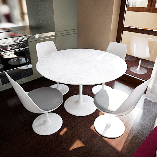 White round tables and chairs 3D models