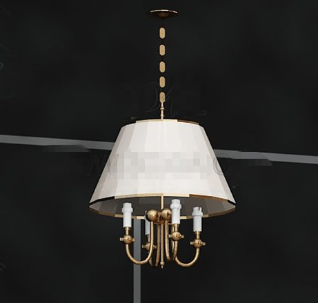 White shade golden Chandelier 3D Model