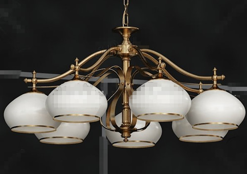 White Shades metal pendant lamp 3D Model