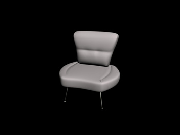 White simple and comfortable chair 3D Model
