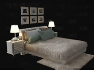 White simple and comfortable double bed 3D Model