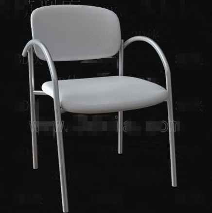 White simple and fashionable office chair 3D Model