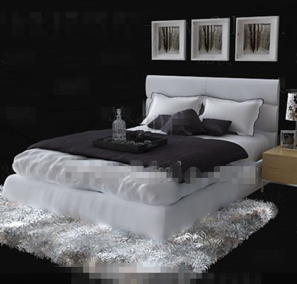 White simple business double bed 3D Model