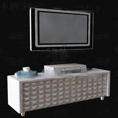 White simple diamond pattern TV cabinet 3D Model