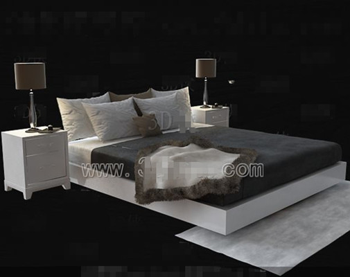White simple double bed 3D Model