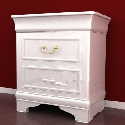 White simple European-style bedside cabinet 3D Model