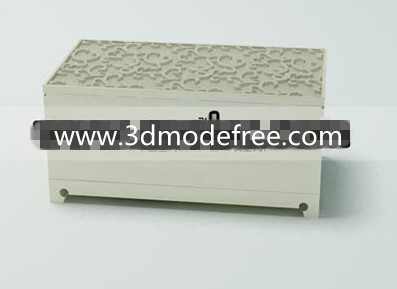 White solid wood carved square stool 3D Model