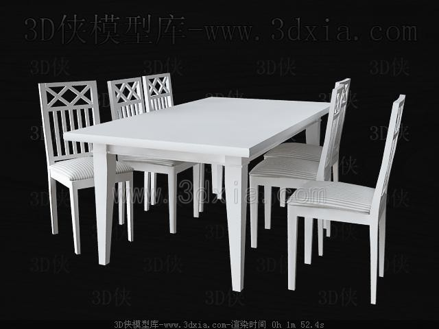 White square table and chairs 3D Model
