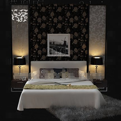 White warm and beautiful Double bed 3D Model