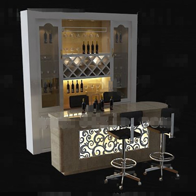 White with counter wine cabinet 3D Model